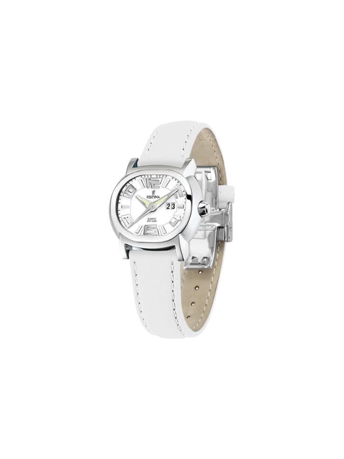fc8ce20f2d7f Reloj mujer Festina Caja acero de 34mm. Correa de cuero color blanco.  Calendario.Sumergible 100 mts