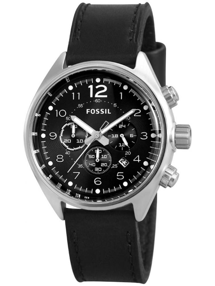52b2200e4706 Reloj Fossil Hombre Casual caja acero y correa piel negro. Crono y formato  analógico.
